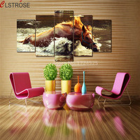 5 Pieces Horse Bathing Canvas Painting Wall Art Home Decor Pictures For Living Room In High