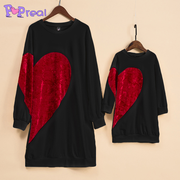 PopReal Mom Girl Velvet Big Red Heart Pattern Matching Dress Newest Mommy And Me Clothes Matching Outfits Girls Dress T shirt ...