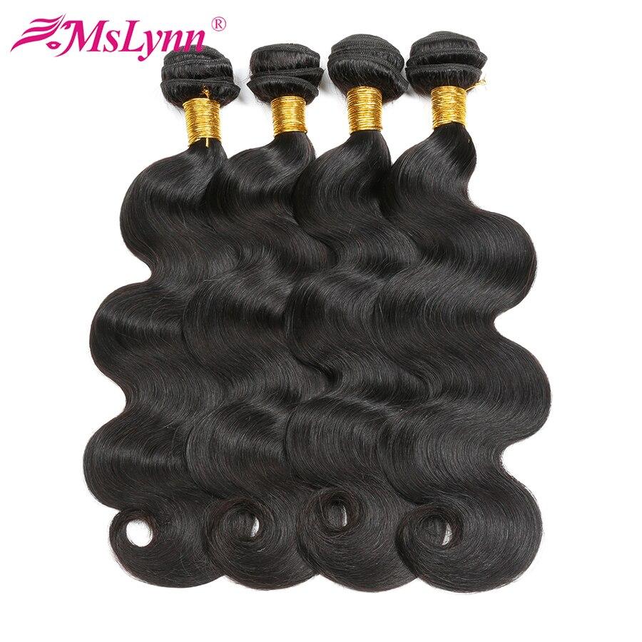 Объемная волна 4 Связки сделки перуанский волос Связки человеческих волос ткань 100% Mslynn не Волосы remy расширение двойной уток волос 8 -28 дюймов ...