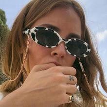European and American fashion cow color small frame sunglasses Fashion elliptical mottled Sunglasses cross-border