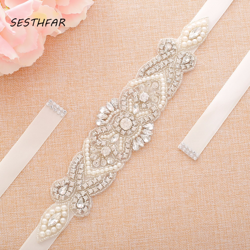 Crystal Pearls Bridal Belt Hand Beaded Wedding Belts Silver Rhinestones Bridal Sash For Wedding DressesJ118