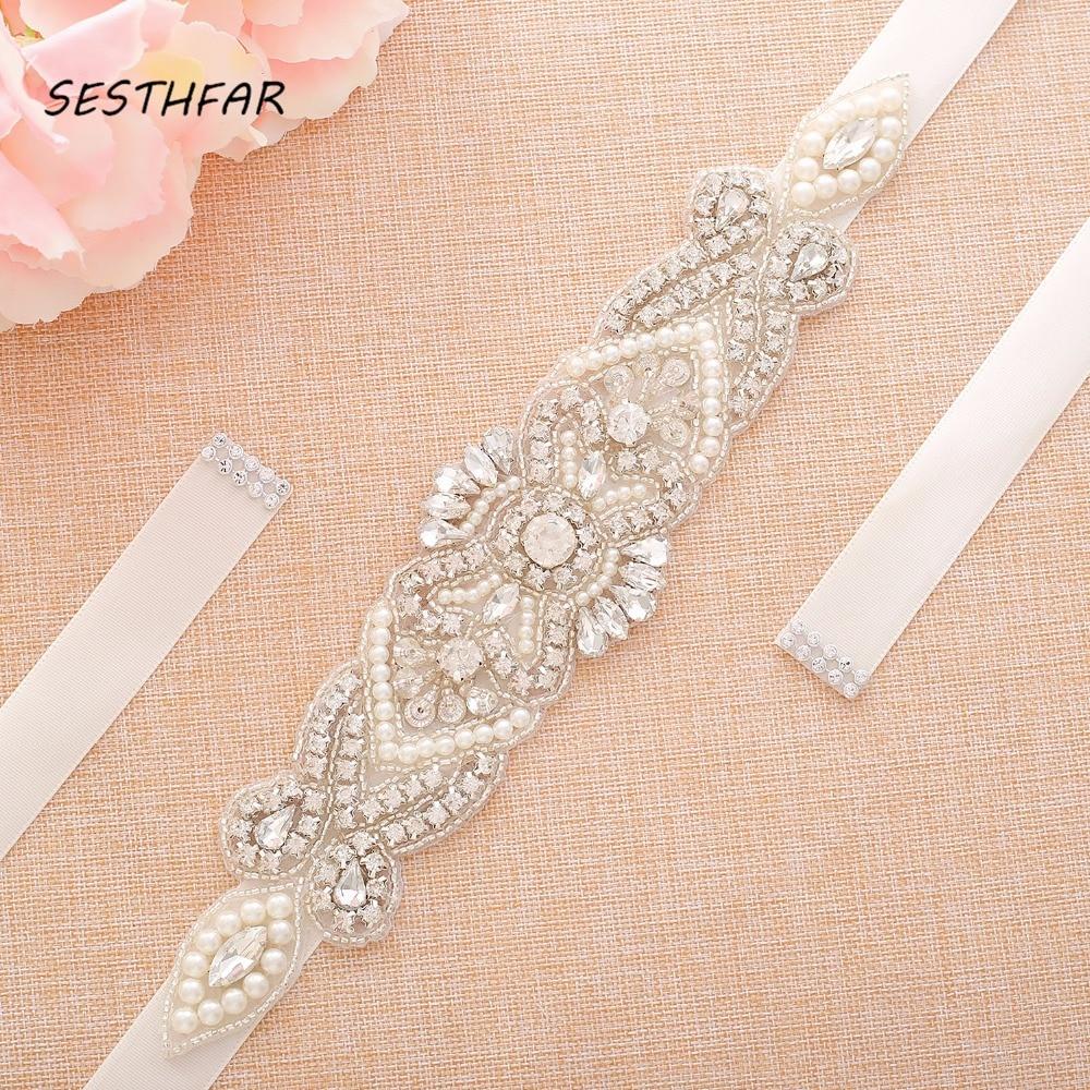 Crystal Pearls Bridal Belt Hand Beaded Wedding Belts Silver Rhinestones Bridal Sash For Wedding DressesJ118