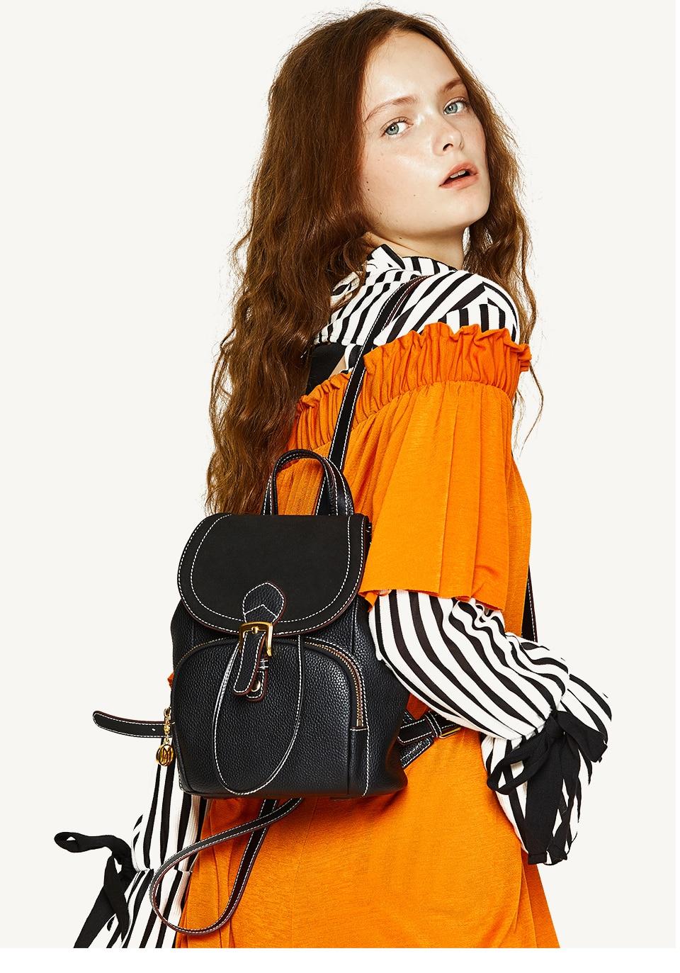 Genuine Leather Backpack Luxury Designer Female Shoulder Bags  Backpack For Women