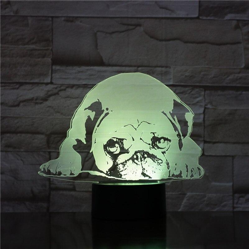 Pug Dog Desk Lamp Bedside 3D Illusion 7 Color Changing Hoom Decorative Child Kids Baby Kit Night Light LED Gift