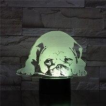 Pug Dog Desk Lamp Bedside 3D Illusion 7 Color Changing Hoom Decorative Lamp Child Kids Baby Kit Night Light LED Pug Dog Gift недорого