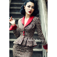 Le Palais Винтаж элегантные ретро пикантные леопардовые контрастного цвета талии пальто юбка карандаш костюмы/комплекты узкие скольжения