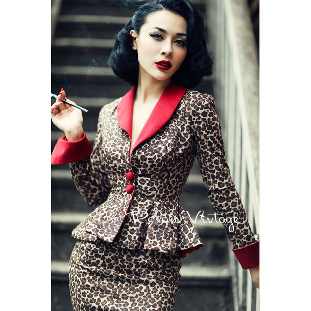 d7af8c43e6fb Le Palais Vintage elegant retro Sexy Leopard contrast color waist coat  pencil skirt suits/sets tight slip