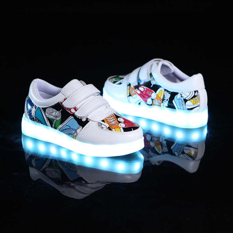 Children's luminous shoes USB charging shoes Boy & girls canvas pattern led shoes 7 colors outdoor glowing sneakers