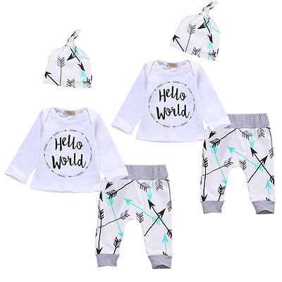 Newborn Baby Girl Boy Clothes Hello World Infant Long Sleeve Plaid Tops + Pants Hat 3pcs Outfit Set infant baby boy girl 2pcs clothes set kids short sleeve you serious clark letters romper tops car print pants 2pcs outfit set
