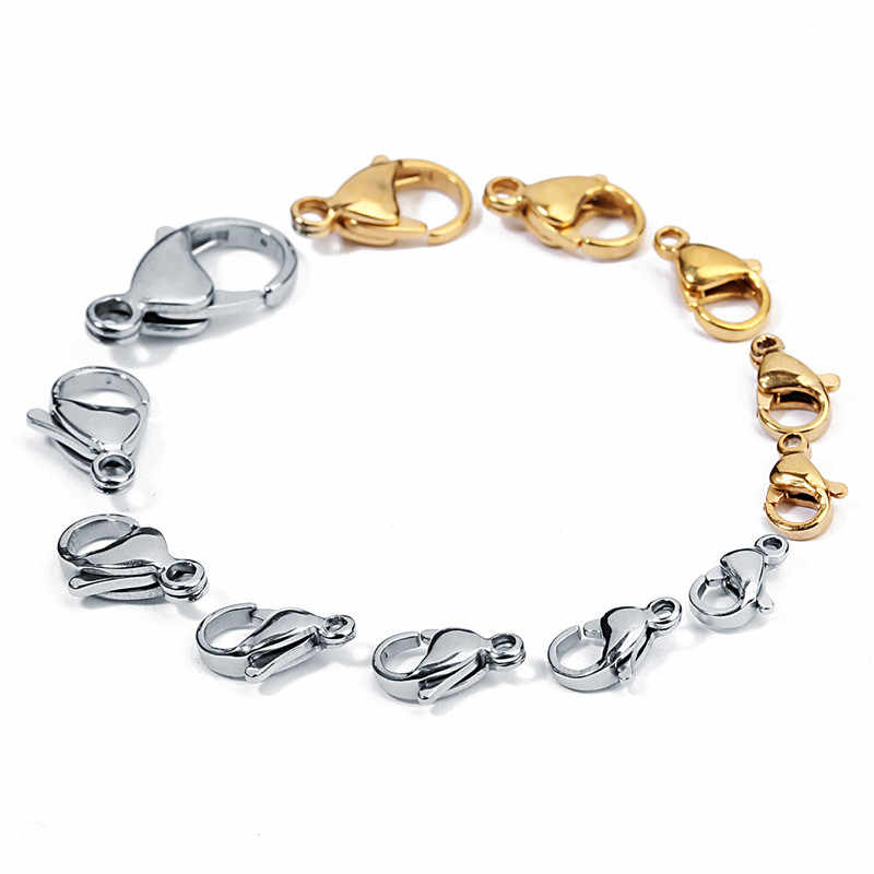 25pcs/lot 9*6/10*6/11*7/12*7/13*8mm Stainless Steel Lobster Clasps Hooks End Connectors Clasps For DIY Necklace Jewelry Making