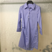 Spring Summer Dress Long Sleeve Blouse Bule Striped Casual Straight Women 100% Cotton