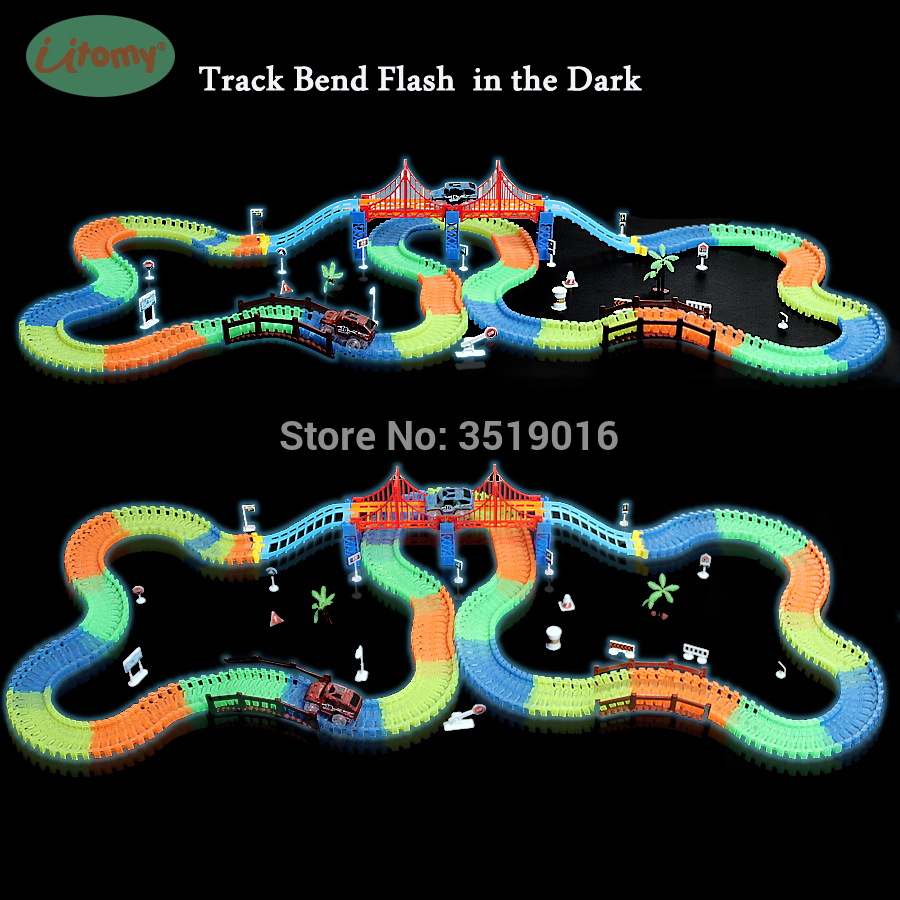 Miraculous Glowing Race Track 18 Ft.with 2 LED Race Car And More Accessories Flexible, Bendable Glow In The Dark Racetrack Toys