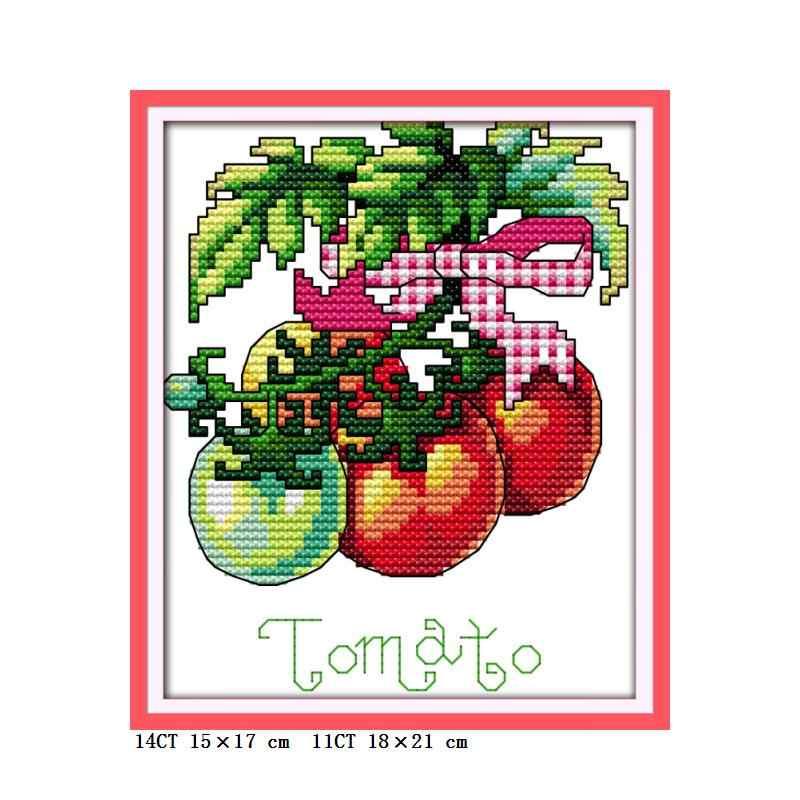 מיני קטן גודל מגוון של ירקות DIY תפר צולב דלעת חצילים עגבניות אפונה גזר בעבודת יד רקמה