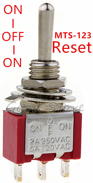 5pcs/10pcs Red Momentary/lock Mini MTS-123/MTS-103 3-Pin SPDT ON-OFF-ON 6A 125VAC  Miniature Toggle Switches