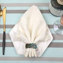 12pcs High-grade blue diamond napkin ring hotel restaurant buckle Christmas gift tableware