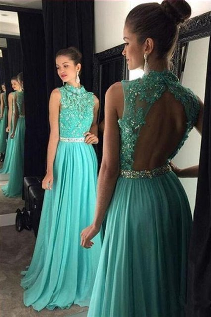 c9016b80837 Teal Chiffon High Neck A-line Long Prom Dresses 2019 Beaded Lace Appliques Sexy  Open Back Teens Formal Evening Prom Party Gowns