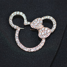 Korean fashion Mickey brooch Female Rhinestones Corsage Men's Mouse Brooches  Accessories jewelry badges pins scarves deduction