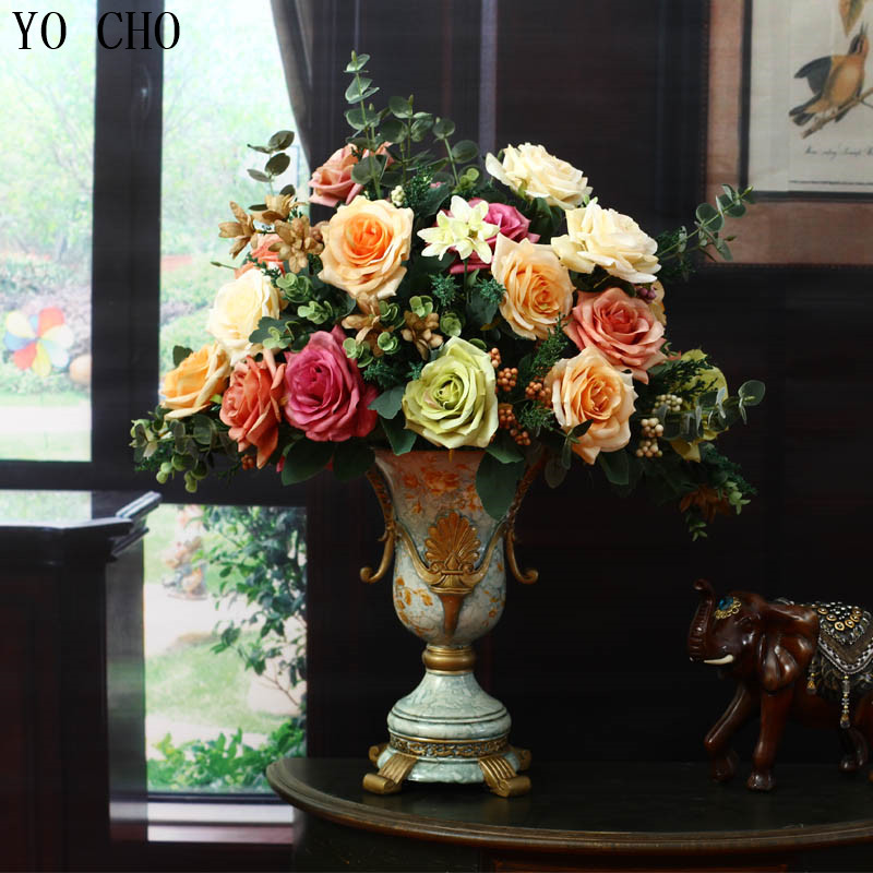 Livraison gratuite fleur artificielle colorée décoration fleur rose fleur de soie fleur artificielle