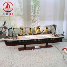 LUCKK 100 80 CM Titanic Classic Wooden Model Ships With Light Nordic Home Decoration Accessorie Crafts Cruise Creative Ornaments