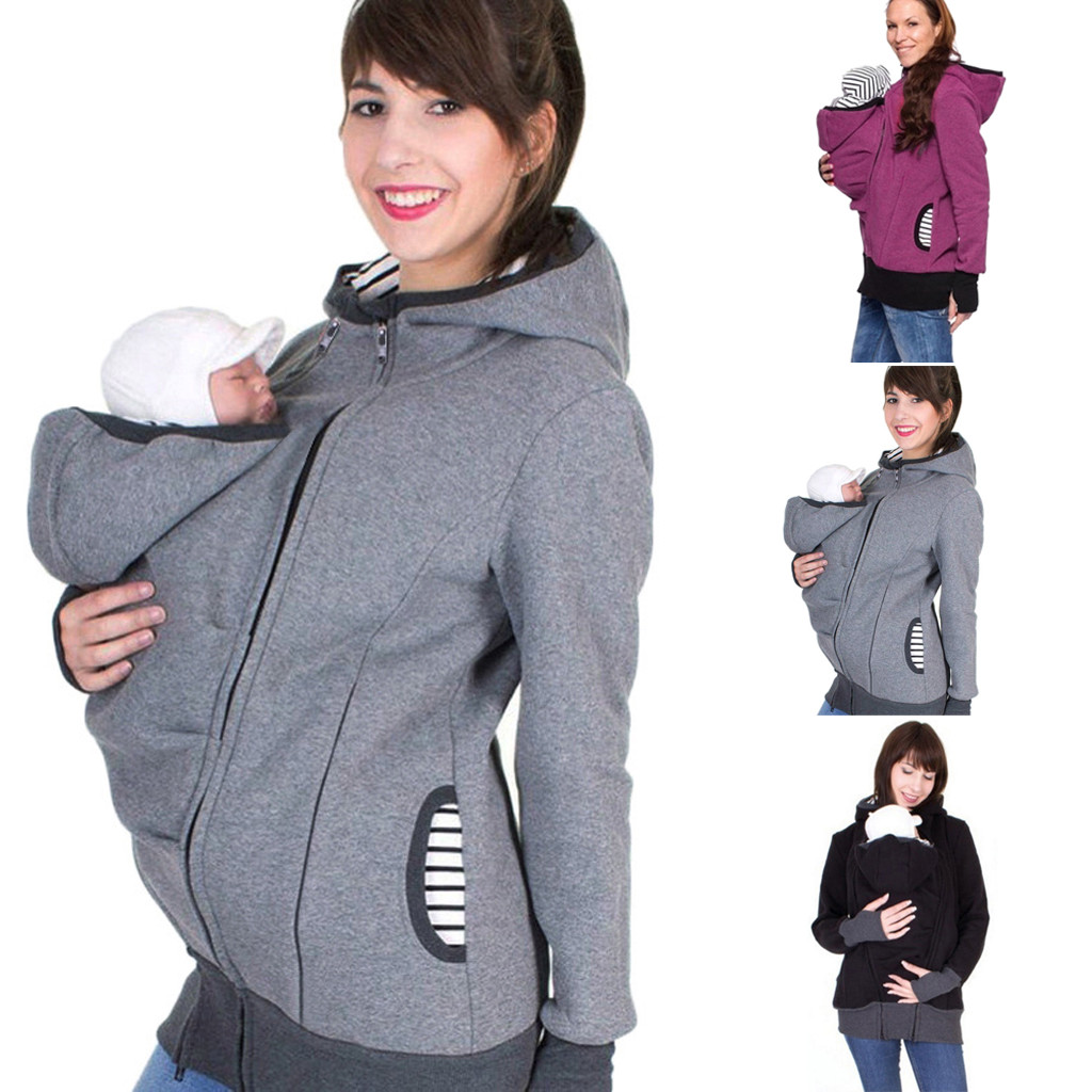 Women Maternity Striped Baby Pouch Carrier Hoodie Kangaroo Zipper Pregnancy Coat Women Gray Loose Clothing Breastfeeding(China)