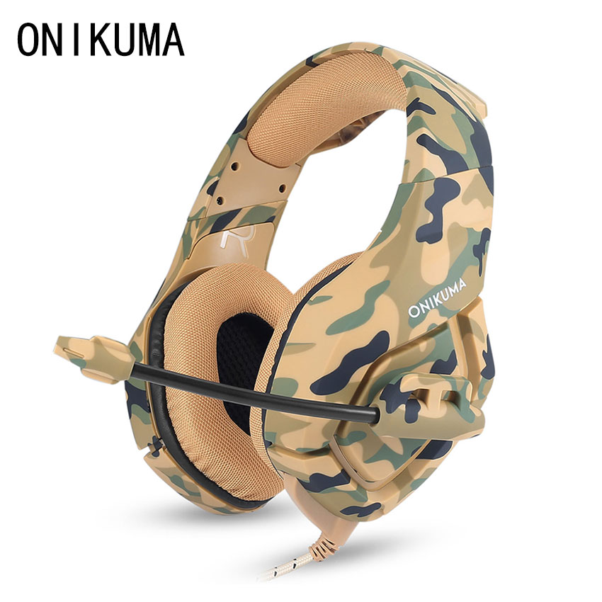 ONIKUMA K1 PS4 Gaming Headset with Mic Casque Camouflage Noise-cancelling Headphones for PC Cell Phone New Xbox One Laptop new arrival headphones e sport professional game headset with cool light for pc mac ps4 noisy cancelling with original box