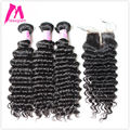 8A Premium Maxglam Deep Wave Curly Mink Brazilian Virgin Hair With Closure 3pcs Hair Bundles With 1 Top Closure Free Shipping