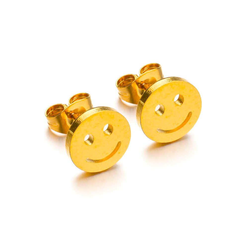 MeMolissa ze stali nierdzewnej stadniny kolczyki dla kobiet mały Smile twarzy złota kolor kochanka zaręczyny biżuteria Drop Shipping