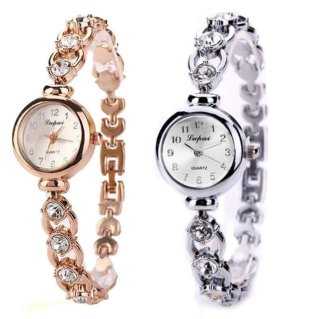 Lvpai Watch Women Gold Vintage Female Clock Bracelet Watch Ladies Brand Luxury Stainless Steel With Rhinestones Relogio Feminino