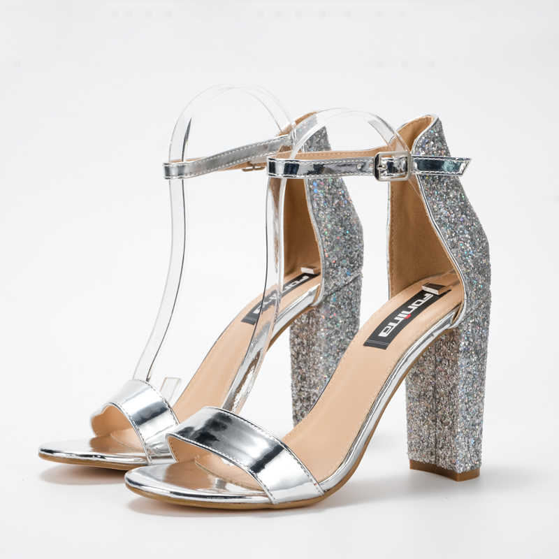 e16a4ba9fe3 ... Vicamelia Women Glossy Block Heel Sandals Shiny Sequins High Heel  Sandals Fish Mouth Buckle Sandal Party ...