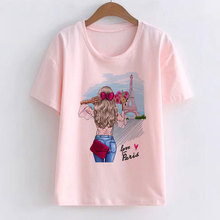 Love In Paris Kawaii Female Fashion T-shirt Ariana Grande Su