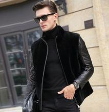 Winter thicken thermal faux fur leather jackets men casual mens patchwork coats stand collar black fashion outerwear