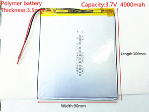 Free shipping 3.7 V 4000 mah tablet battery brand tablet gm lithium polymer battery 3590100