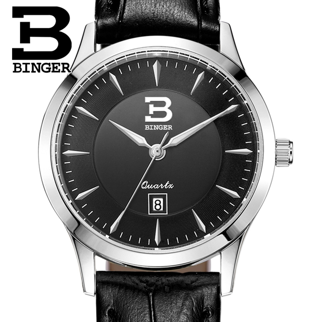Switzerland Women's Watches Luxury Brand BINGER Quartz Genuine Leather Strap Waterproof Clock ultrathin Wristwatches B3005W-3