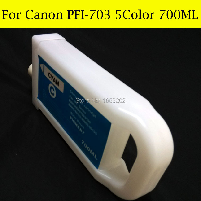 Wholesale 5 Pieces/Lot PFI-703 Refill Ink Cartridge For Canon iPF810 iPF815 iPF820 Printer Without Chip 5 color set refillable ink cartridge for canon pfi 705 for canon ipf810 ipf815 ipf820 ipf825 printer with chip