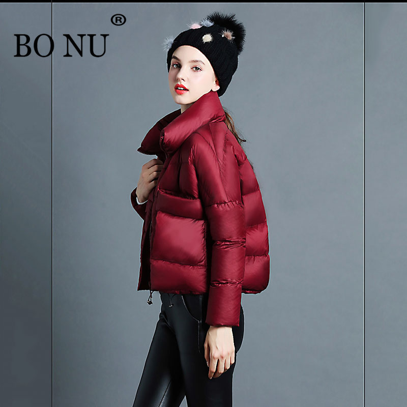 BO NU 2018 Winter White Duck Down Parka Warm Loosen Female Jacket Wine Red Coat Gray Black Oversize Winter Jacket Women