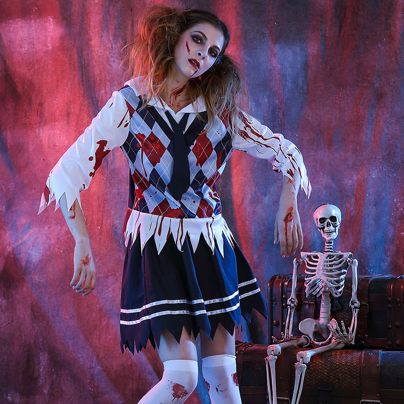 Women Sexy Horrible Bloodiness Grid Pattern Girl School Uniform Vampire Ghost Zombie Halloween Cos Costumes Top Skirt Plus Size
