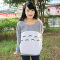 New Cute Girl'S Totoro Hoodies With Ears Style For Women Hood Pullovers Gray Cotton My Neighbor Sweatshirt Anime Cartoon Tops