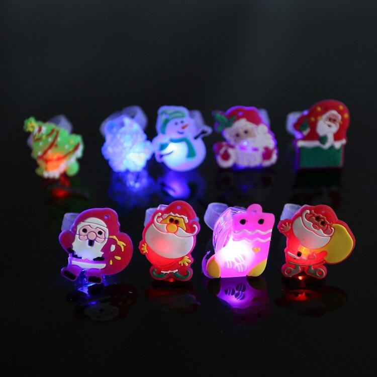 5pcs lot Hot sale light up toys cute cartoon luminous rings lovely santa claus flashing rings