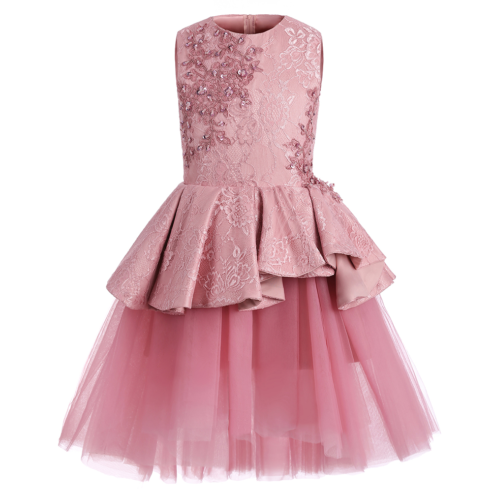 Flower Girls Dresses For Weddings Pink Lace Ruffles O-neck Ball Gown Sleeveless Knee Length First Communion Pageant Gowns