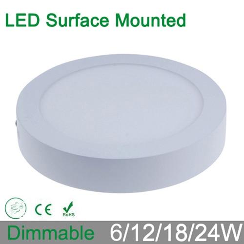 Υψηλή φωτεινότητα 6W 12W 18W 24W dimmable στρογγυλή επιφάνεια τοποθετημένη LED πάνελ οροφή προς τα κάτω φωτισμός φωτισμός φωτισμού για οικιακό φωτιστικό