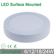 High brightness 6W 12W 18W 24W  dimmable round surface mounted LED panel ceiling down light iluminacion lamp for home luminaire