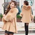 Mulheres casaco gola de pele de lã casaco outerwear 2016 primavera e outono doces juniores manto casacos mulheres