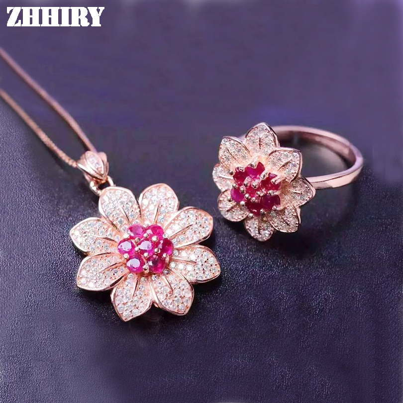 ZHHIRY Natural Ruby Gemstone Set  Solid Genuine 925 Sterling Silver Women Ring Necklace Pendant Jewelry SetsZHHIRY Natural Ruby Gemstone Set  Solid Genuine 925 Sterling Silver Women Ring Necklace Pendant Jewelry Sets