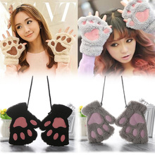 1pair Fluffy Bear Cat Plush Paw Claw Girls Gloves Novelty Halloween Soft Toweling Half Covered Womens Gloves Mittens Fingerless cheap Gloves Mittens Lovely gloves gootrades Polyester Fashion Wrist Adult Animal Fingerless Gloves Plush Fluffy Gloves Bear Cat Paw Gloves
