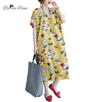 BelineRosa 2017 Big Sizes Beach Dresses Summer Bohemia Style Printing Flower Maxi Dress For Women HS000258