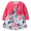 COD2-002, Original, Baby Girls 2-Piece Dress and Cardigan Set, With Attached Bodysuit and Cardigan, Free Shipping