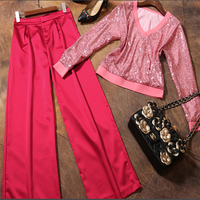 Spring Summer Of 2017 New Europe Fashion V Neck Collar Long Sleeved Sequin Shirt Wide Leg