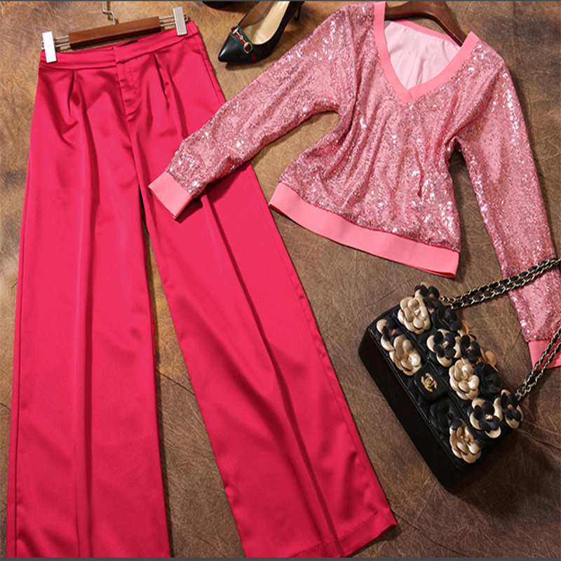 2017 New Fashion Women's Clothing Set Pink Sequins V-neck Collar Long Sleeved Shirt Red Wide Leg Long Pants Suit