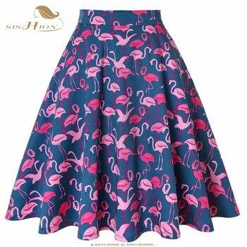 SISHION Plus Size Skirts Womens jupe femme VD0020 High Waist Flamingo Summer Skirt Cotton falda mujer Tutu Sexy Women Skirt Юбка