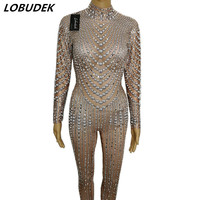 Female Full Crystals jumpsuit Rompers Costume Shining Rhinestones Bodysuit Stage wear Sexy Bar Singer Party Performance outfit